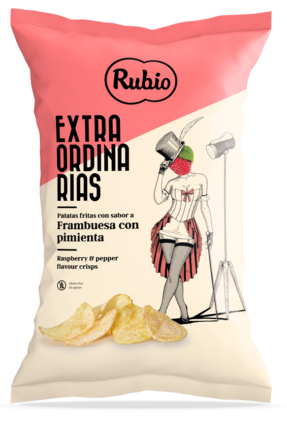 Raspberry and pepper flavour crisps